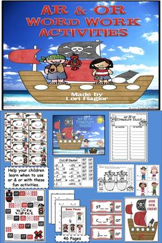 Your children will love to work with these pirate themed word work activities when learning the differences between ar and or in words.