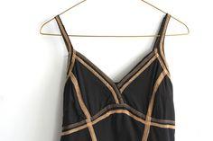 Vintage Black with Camel Toned Stitch Detailing by OtisAndTheGirl, $30.00 Vintage Black, Camel, Peplum Dress, Ready To Wear, Camisole Top, Stitch, Summer Dresses, Boho, Tank Tops