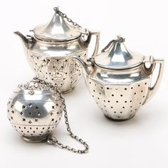 Sterling Silver and Silver Plate Tea Balls Including Webster Company, Vintage Vintage Sterling Silver and Silver Plate Teapot Shaped Tea Balls Silver Teapot, Silver Plate, English Teapots, Teapot Cake, Vintage Numbers, Heat Resistant Glass, Coffee Cup Set, Glass Teapot, Bronze