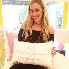 "Hi friends! It's Erica and I'm so excited to be taking over the TF Instagram today to show you my favorite things! I'm getting married in less than 2 weeks so all things ""wedding"" are on my mind! One of my favorite gifts has been my new @pillowgrace boudoir. It has my and Michael's interlocking initials and our wedding day! What a perfect gift for newlyweds! We will love this in our new home. Swing by @twofriends_stsimons to order yours for a perfect gift! #tfssi #stsimonsisland #seaisland…"