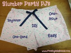 Sew Happy: DIY easy, one-hour, one-yard Slumber Party PJ's-Goes with Sew Daily Pattern Sewing Hacks, Sewing Tutorials, Sewing Crafts, Sewing Projects, Sewing Patterns, Sewing Ideas, Sewing Diy, Slumber Parties, Sleepover