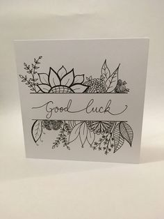 Good Luck Cards, Cool Cards, Diy Cards, Calligraphy Doodles, Doodle Lettering, Homemade Birthday Cards, Homemade Cards, Card Birthday, Scrapbook Cover