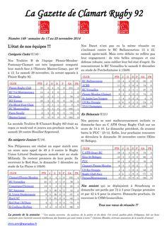 Gazette - 2014-2015 - Fédérale 2 - N° 149
