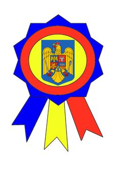 Cocardă tricoloră cu stema țării și coroana de oțel...