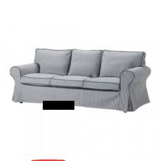 IKEA Ektorp Cover 3 Seat Sofa Slipcover Simris Blue White Stripe Discontinued | eBay