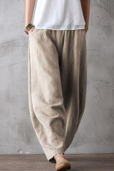 Summer Loose Cotton Linen Pants Women Casual Trousers - All About Linen Pants Women, Linen Trousers, Pants For Women, Clothes For Women, Linen Pants Outfit, Trousers Women, Loose Pants, Wide Leg Pants, Women's Pants
