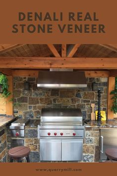 This exquisite residential outdoor living space highlights the Quarry Mill's Denali natural thin stone veneer. #naturalstone #stoneveneer #thinstone #realstone #quarry #freeshipping #inspiredbynature #madeinamerica #homegoals #coveredpatio #outdoorgrill #outdoorliving #homeinspiration #grillmaster #stonesiding #quarrymill #castlerockstone #realstoneveneer #naturalstoneveneer #stoneandwood #rusticpatio #rusticdesign #designideas #designinspiration Real Stone Veneer, Natural Stone Veneer, Natural Stones, Rustic Patio, Stone Siding, Grill Master, Castle Rock, Made In America, Rustic Design