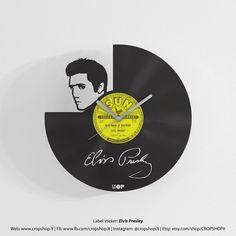 Elvis Presley-Wanduhr aus Upcycled von CROPSHOPlt auf Etsy