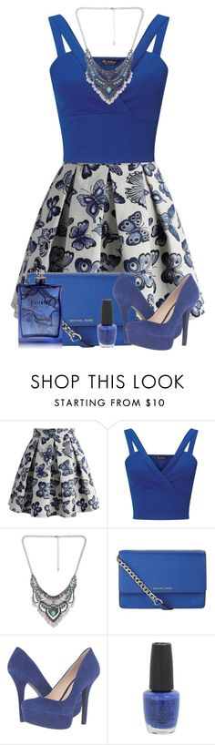 """Blue Statement Necklace"" by karen112200 ❤ liked on Polyvore featuring Chicwish, Miss Selfridge, Decree, MICHAEL Michael Kors, Jessica Simpson, OPI, The Beautiful Mind Series, cute, Blue and statementnecklaces"