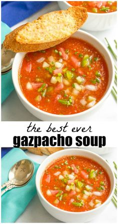 Easy tomato gazpacho soup - a cold summer soup recipe with plenty of fresh…