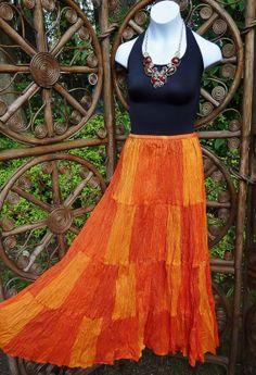 4 tiered sunshine orange broomstick skirt   XL by LamplightGifts, $21.75