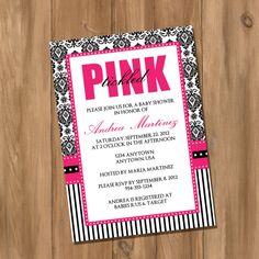 Pink Damask Baby Shower or Birthday Invitation (Digital - DIY). $10.00, via Etsy.