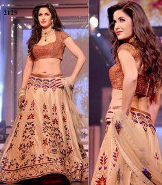 Fabric Details : Dupatta : Net On Pattern Kashmiri Buttis & Lace Work Blouse : Brocade Lahenga :Raw Silk Work : Kashmiri Work