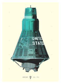 Mercury Art Print by Señor Salme Pop Art Poster, Astronaut Illustration, Project Mercury, Space And Astronomy, Nasa Space, Space Race, Vintage Space, Space Program, Space Shuttle
