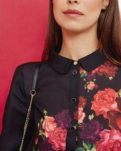 99e28d9131ec5 Juxtapose Rose print shirt - Black