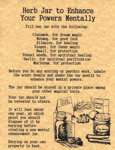 Herb Jar to Enhance Your Powers Mentally {Printable Spell Page}   Witches Of The Craft®