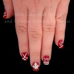 canada day nail art - Google Search Line Nail Designs, Lines On Nails, Canada Day, Creative Artwork, Art Google, Pedicure, Polish, Nail Art, Google Search