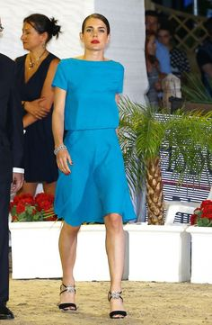 6.28.14  Charlotte Casiraghi, in Gucci PF14, give prizes for the Longines Grand Prix du Prince at International Monte-Carlo Jumping at Port Hercule in Monaco