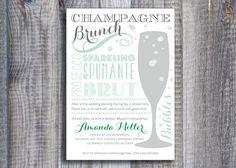 Champagne Brunch / Custom Color / Printable Bridal Shower Invitation via Etsy
