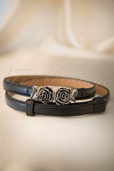 Bettie Page Clothing - Metal Rose Belt Black