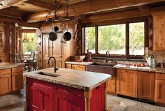 McKinney House - The Custom Made Kitchen by PrecisionCraft Log and Timber Homes and Mountain Architects