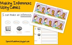I'm finding them to be a good step before actually working on inferencing from paragraphs or book (which give don't provide the visuals). Although we're explicitly working on inferencing, these activities also work on cause/effect, prediction, sequencing and figurative language. We also throw in some explanations of the humor for my students on the autism spectrum in the group.    To use the comics, I start by modeling the steps several times.