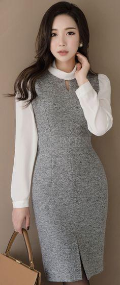 StyleOnme_High Neck Slit Hem Dress #gray #dress #elegant #koreanfashion #kstyle #kfashion #officelook #autumntrend #seoul