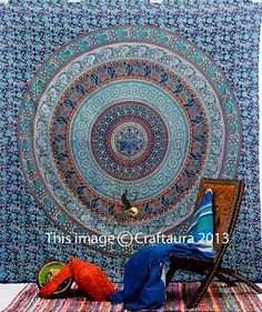 Indian Mandala Tapestry Tapestry Wall Hanging by CraftAuraHome