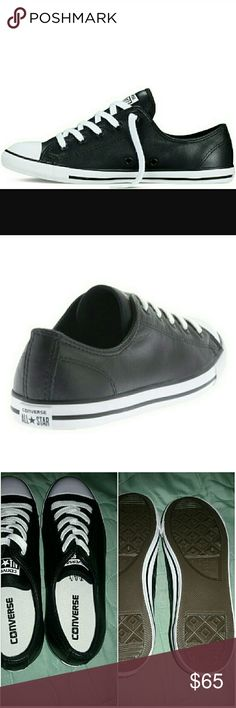 Dainty leather converse NEW Chuck taylor dainty leather converse in black Brand new Make me an offer :) Converse Shoes Sneakers