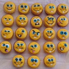 Spongebob Squarepants Faces Cupcakes