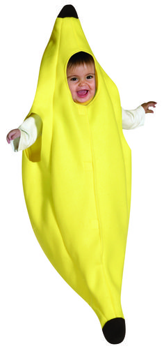 #9022 - Banana Bunting - We all love bananas, but we would love bananas even more after we see your little baby dressed up as one! A banana is sure to be a cute choice as a costume for your infant this Halloween. Dress your entire family in bananas and you will sure be the best looking bunch this Halloween! Includes one banana bunting. Fits baby sizes 3-9 months.  #halloween #banana #bananacostume #babycostume #funfest #cutecostume