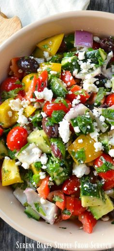 Greek Salad a summer time favorite perfect for gatherings and picnics.