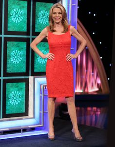 CACHE: Dark coral lace cocktail dress, sleeveless, squared neckline, keyhole cutout back, straight skirt | Vanna White's dresses | Wheel of Fortune