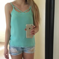 Turquoise Tank Top Gently used light turquoise cutout tank with adjustable straps. Gently worn. Size: XS Brand: Japna Tops Blouses