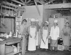Staff of the Block 7 kitchen, Jerome War Relocation Center, Arkansas, 18 Nov 1942 (US National Archives)