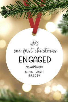 Our first christmas engaged ornament, Personalized christmas gift for couples, Engagement Announcement, elegant Christmas Decor