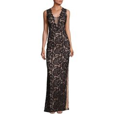 Aidan Mattox Women's Lace Column Gown (9.770 RUB) ❤ liked on Polyvore featuring dresses, gowns, apparel & accessories, metallic gown, sheer lace dresses, sheer gown, lace ball gown and sleeveless lace dress