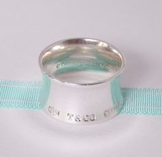 756bbf02a Tiffany & Co Size 6.5 Sterling Silver Wide 1837 Concave Ring Band with  Pouch #