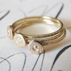 Stacking Initial Rings - Gold-Filled Set of Three. $120.00, via Etsy.