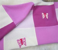A baby shower gift idea for a girl. Pink Cashmere Baby Quilt Pure Cashmere - Made to Order - Upcycled Sweaters - So Soft. Great Baby Shower Gift - aftcra. Pink, light pink, fuschia, pastel, butterfly, white baby blanket for baby girl. Incredibly soft upcycled gift. Gift ideas. Unique. http://www.aftcra.com/reverietextiles/listing/5924/pink-cashmere-baby-quilt-pure-cashmere-made-to-order-upcycled-sweaters-so-soft-great-baby-shower-gift