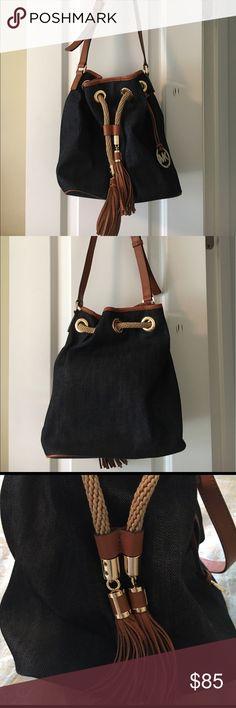 32ec06942746 Michael Kors denim drawstring bag Beautiful gently used in good condition  drawstring bucket handbag by Michael Kors.