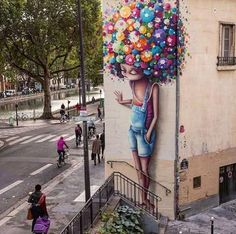 Beautiful Street Art in Paris ⭐ . Murals Street Art, Graffiti Art, Graffiti Wallpaper, 3d Street Art, Amazing Street Art, Mural Art, Amazing Art, Graffiti Quotes, Street Graffiti
