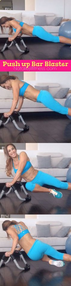This push up bar rocks! Using a Halo for this smile emoticon If you don't have anything like this, you can just do these moves on the floor! Grab a towel and bottle of water and lets get to work!  Pushups - 30 seconds Push Up Twist - 30 seconds Rocking Push Ups (or Plank up up down downs) - 45 seconds Tricep Shimmies- 30 seconds Pushup Roll Outs (or walk outs) - 30 seconds  Talk to me! Would you like to see more like this on these bars? Comment and tell me what you think!