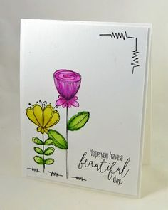 simple card using Doodle Buds, and it would be simple to create a squiggle border or corner like they did here