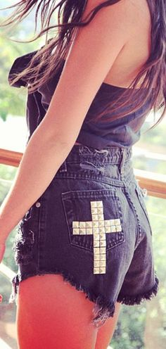 Wow.  Jesus and trashy denim cutoffs.  You have to admire that level of commitment to cognitive disconnect - Kiss my faith