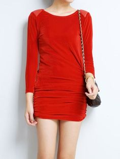 #SheInside  Red Leather Shoulder Elasic Waist Bodycon Dress