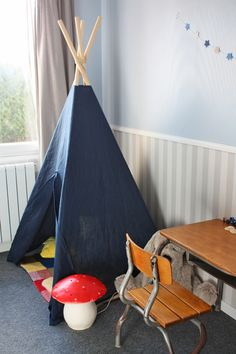 Cute ideas little boys room - I have been seeing this little tee pee idea but I think the idea is cute as a little place for the lil' guy...and I had desk like that. Wonder where it is now?