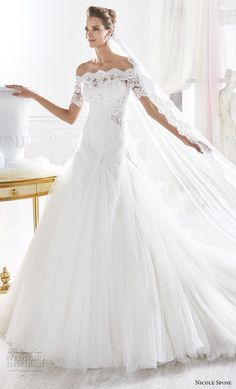 nicole spose 2018 bridal half sleeves illusion straight across sweetheart neckline princess drop waist a line wedding dress sheer lace back chapel train (13) mv