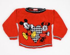 In Style; Hearty 101 Dalmatians Pullover Sweater Knit Small Toddler Girls Size 3-4t Red Vintage Fashionable
