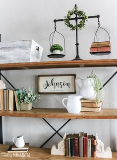 How To Decorate Shelves Do you love the vintage farmhouse look? This article is full of shelf decorating tips and tricks for any type of shelf and lots of pictures of modern farmhouse shelves decorated with vintage finds! Vintage Farmhouse Decor, Farmhouse Bedroom Decor, Vintage Decor, Modern Farmhouse, Vintage Shelf, White Farmhouse, Farmhouse Style, Primitive Bedroom, Primitive Homes